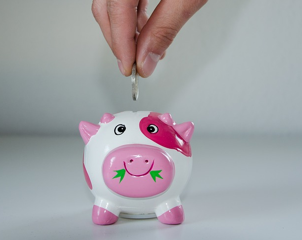 A hand saving money in a piggy bank.